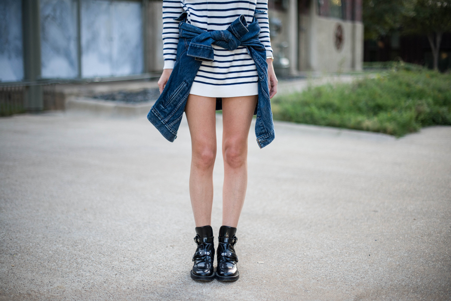 balenciaga boots, levis, jean jacket, striped dress, amber venz, venzedits