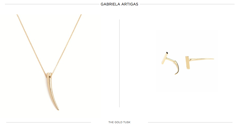 gabriela artigas, jewelry, minimalist jewelry, tusk necklace, amber venz, venzedits, tusk earrings