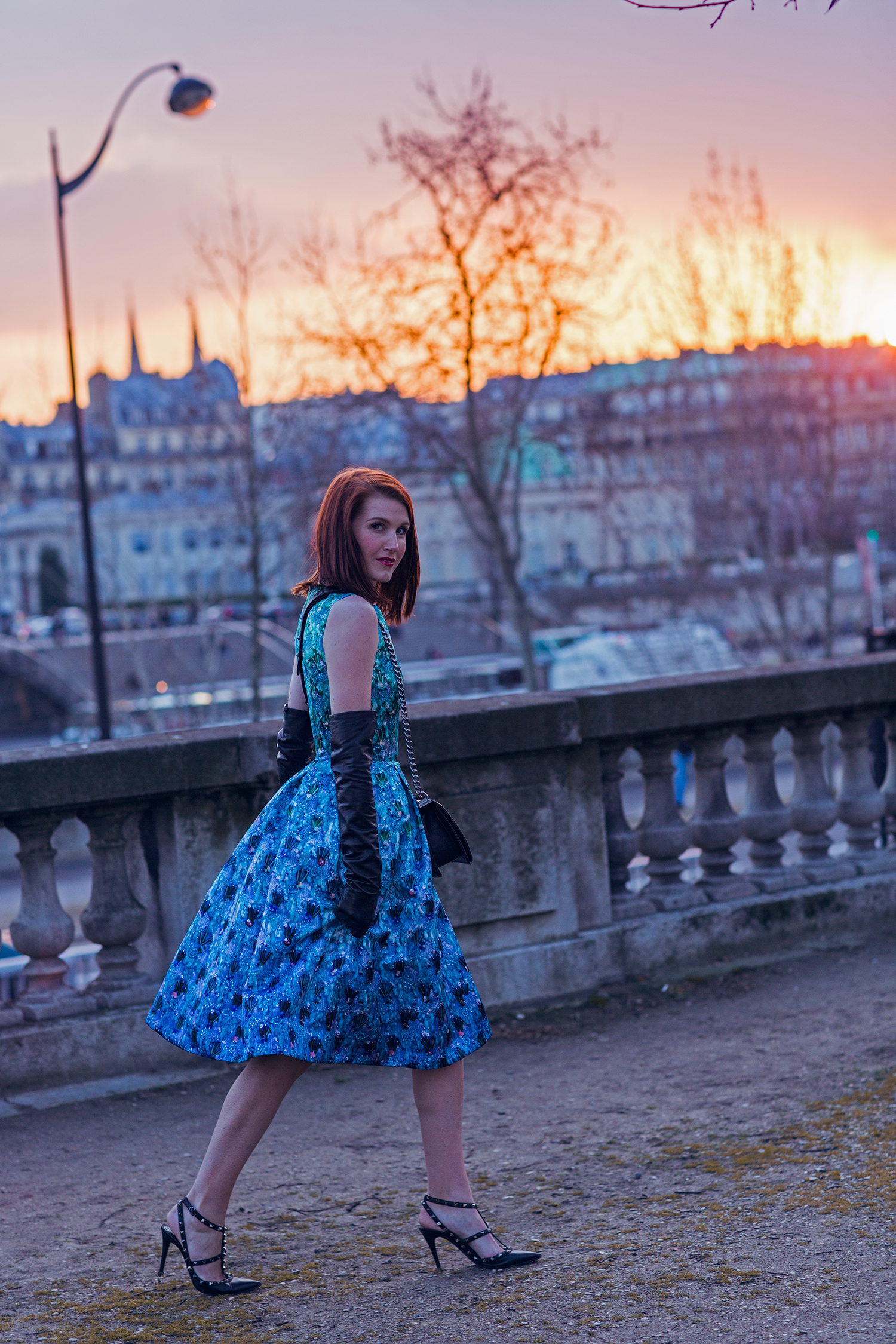 amber venz mary katrantzou dress paris