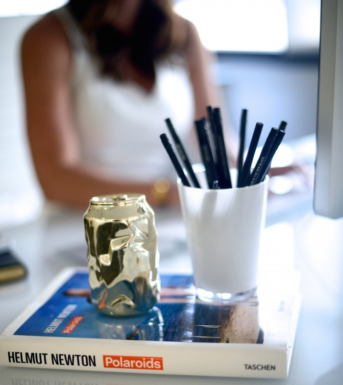 gold coke can, helmut newton book, black pencil, amber venz, reward style