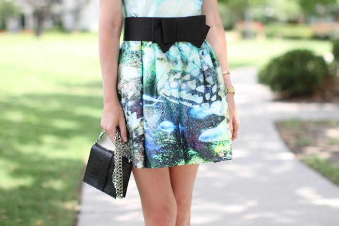 amber venz box, floral dress, black bow belt