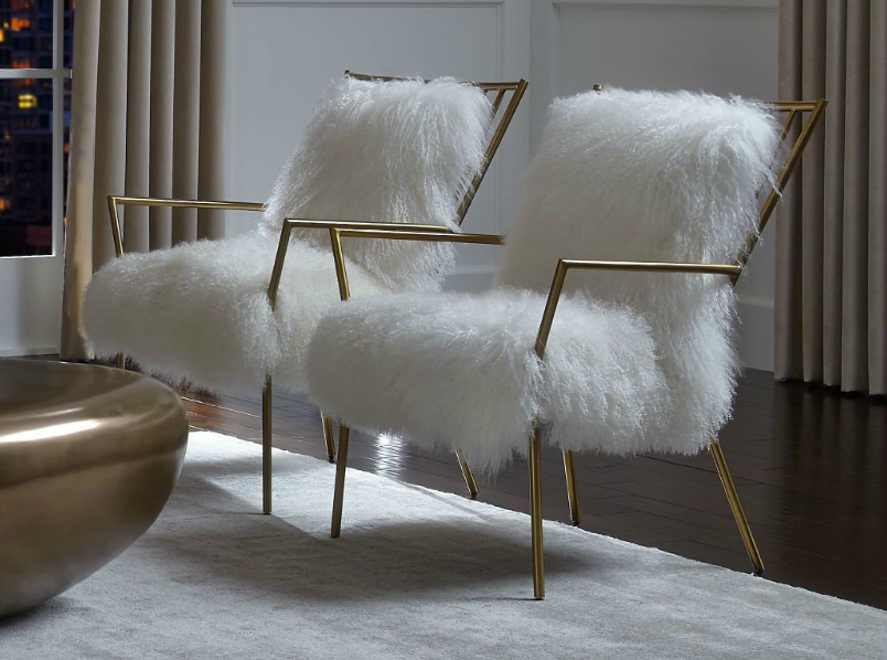Mitchell Gold and Bob Williams sheepskin brass side chairs, furry chairs