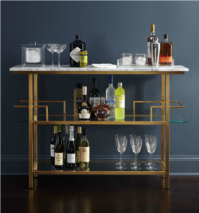 Mitchell Gold and Bob Williams, bar cart, alcohol, styling, interior design