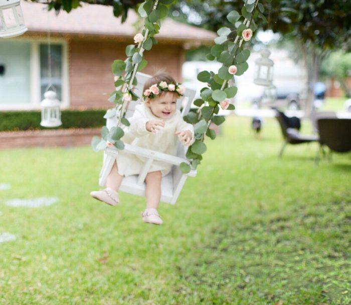 Floral Garland on Swing