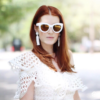 white sunglasses - white earrings - venzedits
